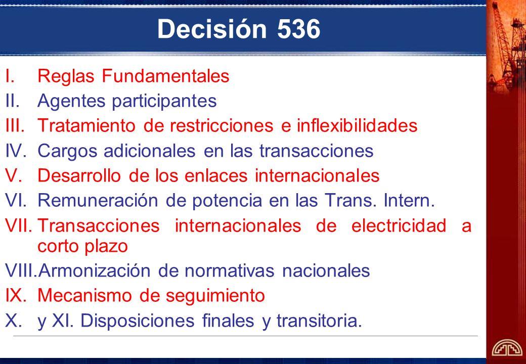 Decisión 536 I.Reglas Fundamentales II.Agentes participantes III.Tratamiento de restricciones e inflexibilidades IV.Cargos adicionales en las transacc