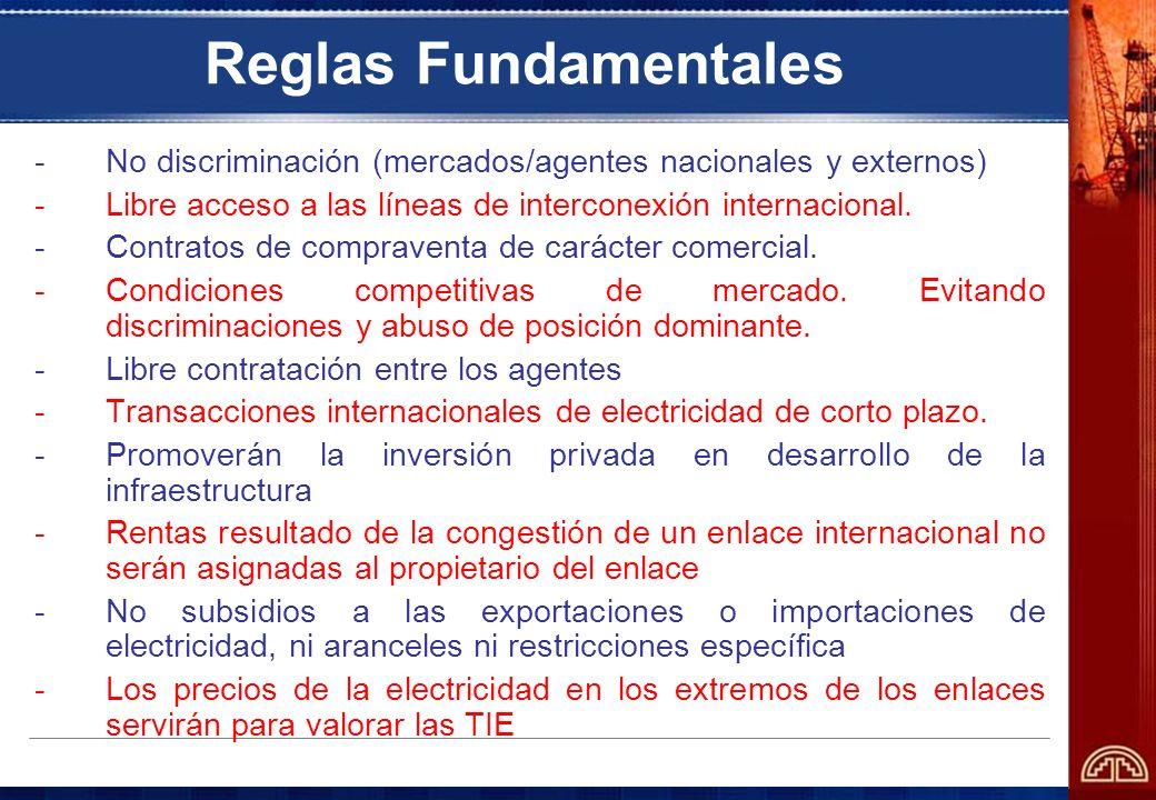 Reglas Fundamentales -No discriminación (mercados/agentes nacionales y externos) -Libre acceso a las líneas de interconexión internacional. -Contratos