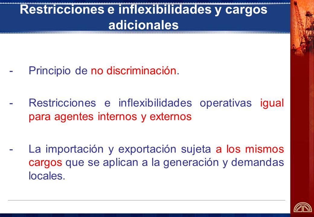 Restricciones e inflexibilidades y cargos adicionales -Principio de no discriminación. -Restricciones e inflexibilidades operativas igual para agentes