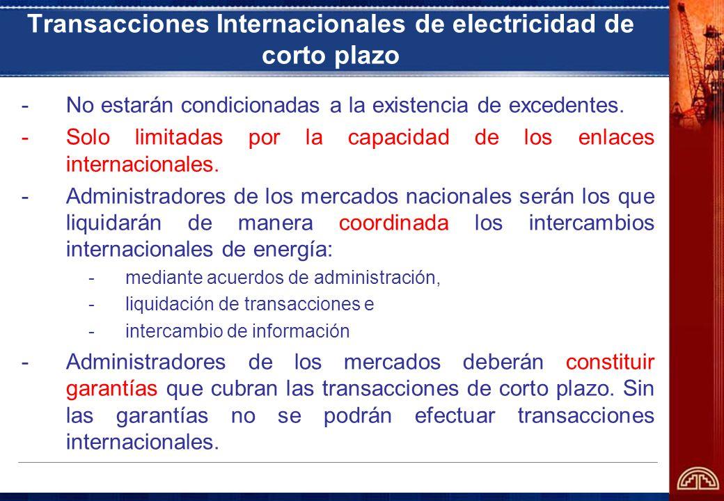 Transacciones Internacionales de electricidad de corto plazo -No estarán condicionadas a la existencia de excedentes. -Solo limitadas por la capacidad