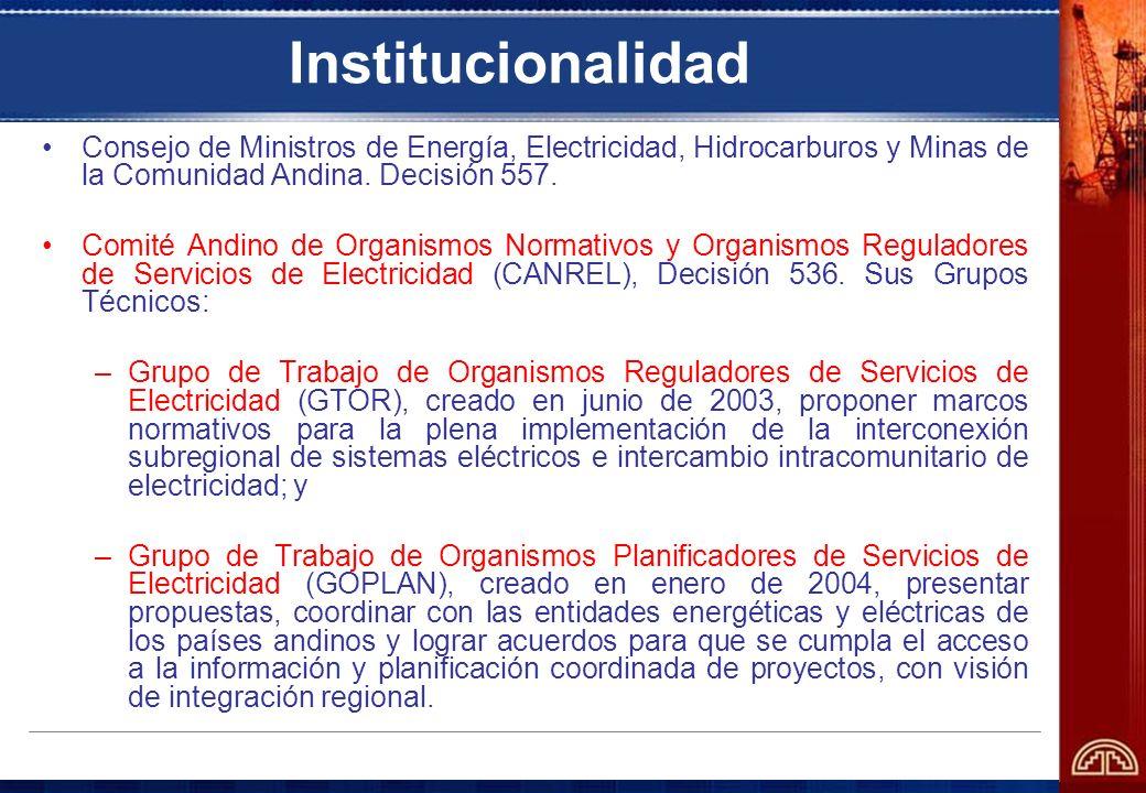 Institucionalidad Consejo de Ministros de Energía, Electricidad, Hidrocarburos y Minas de la Comunidad Andina. Decisión 557. Comité Andino de Organism
