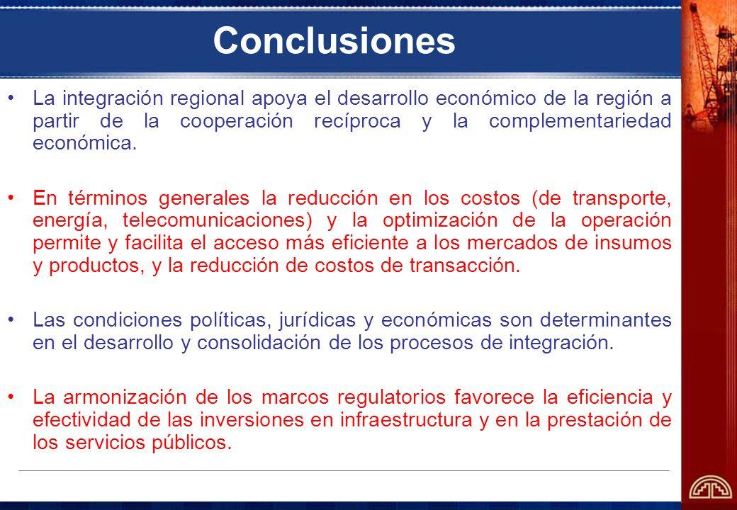 Conclusiones La integración regional apoya el desarrollo económico de la región a partir de la cooperación recíproca y la complementariedad económica.