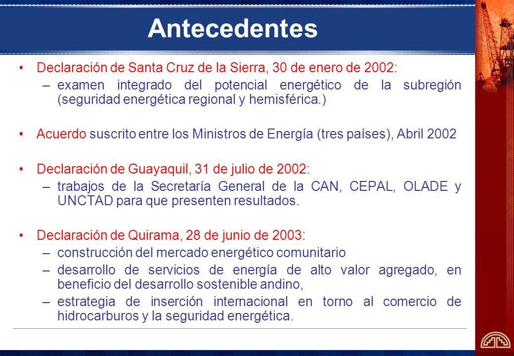 Antecedentes Declaración de Santa Cruz de la Sierra, 30 de enero de 2002: –examen integrado del potencial energético de la subregión (seguridad energé