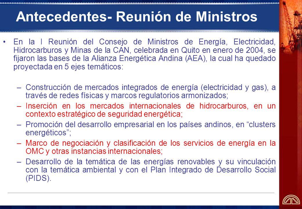 Antecedentes- Reunión de Ministros En la I Reunión del Consejo de Ministros de Energía, Electricidad, Hidrocarburos y Minas de la CAN, celebrada en Qu
