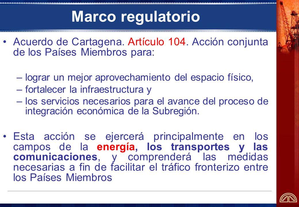 Marco regulatorio Acuerdo de Cartagena. Artículo 104. Acción conjunta de los Países Miembros para: –lograr un mejor aprovechamiento del espacio físico