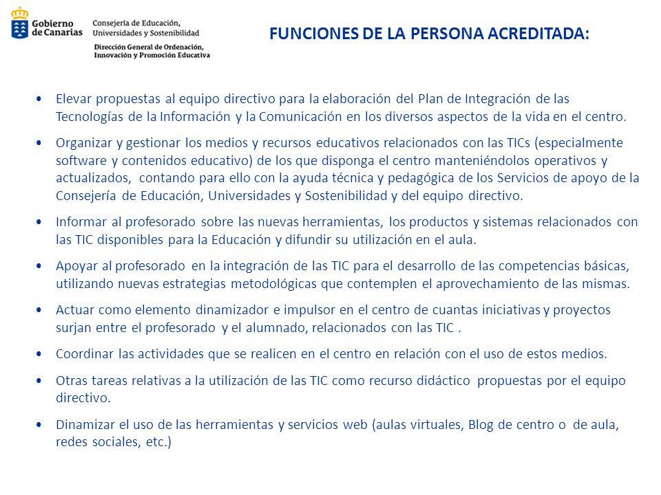 FUNCIONES DE LA PERSONA ACREDITADA: Elevar propuestas al equipo directivo para la elaboración del Plan de Integración de las Tecnologías de la Informa