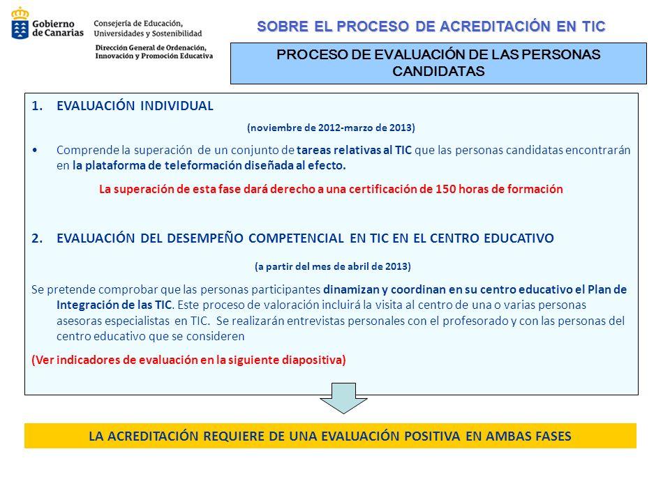 SOBRE EL PROCESO DE ACREDITACIÓN EN TIC PROCESO DE EVALUACIÓN DE LAS PERSONAS CANDIDATAS 1.EVALUACIÓN INDIVIDUAL (noviembre de 2012-marzo de 2013) Com