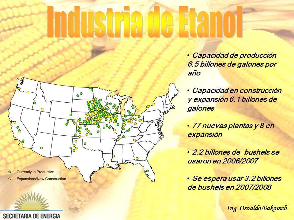 Ing. Osvaldo Bakovich Capacidad de producción 6.5 billones de galones por año Capacidad en construcción y expansión 6.1 billones de galones 77 nuevas