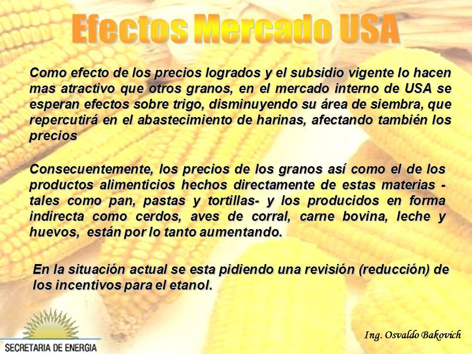 Ing. Osvaldo Bakovich Consecuentemente, los precios de los granos así como el de los productos alimenticios hechos directamente de estas materias - ta