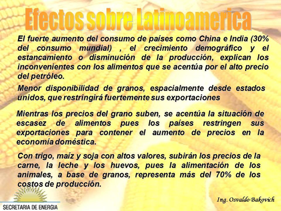 Ing. Osvaldo Bakovich Mientras los precios del grano suben, se acentúa la situación de escasez de alimentos pues los países restringen sus exportacion