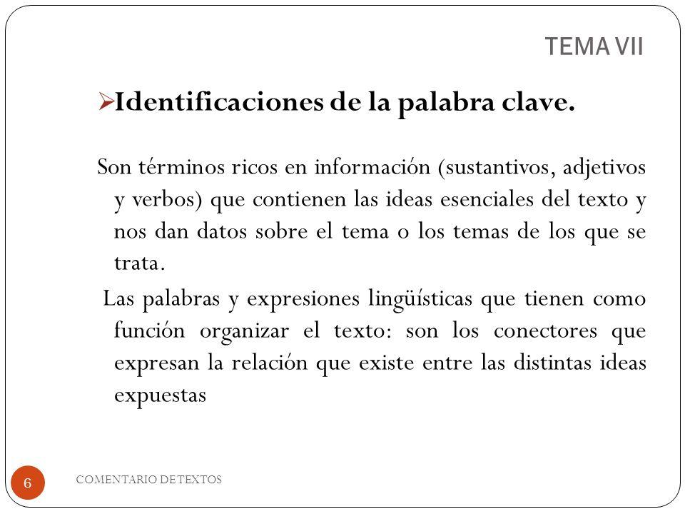 TEMA VII Identificaciones de la palabra clave. Son términos ricos en información (sustantivos, adjetivos y verbos) que contienen las ideas esenciales