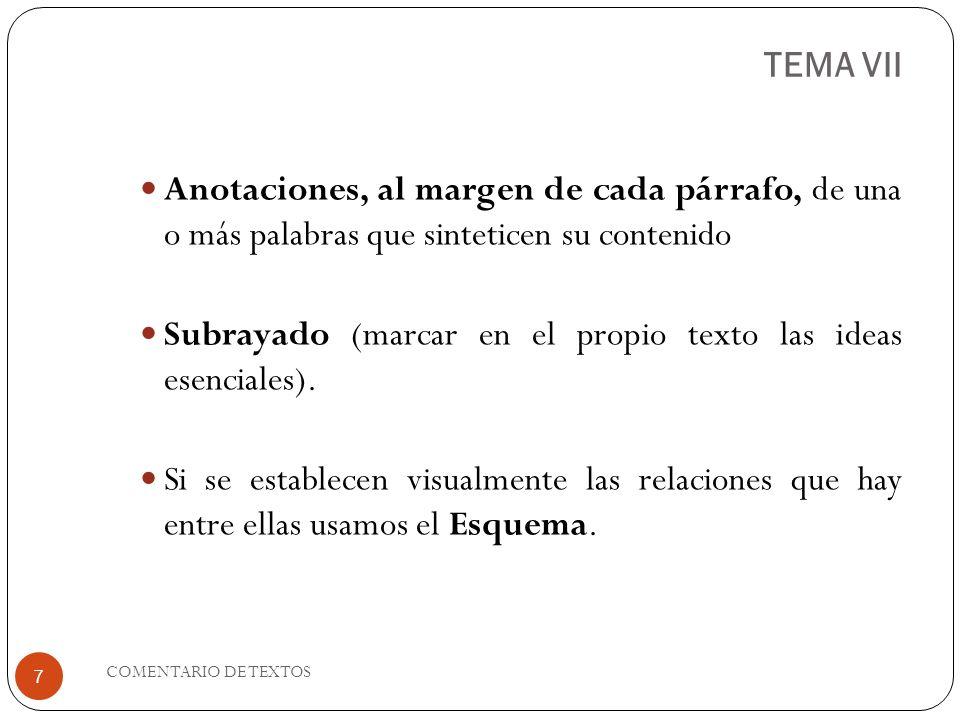 TEMA VII Anotaciones, al margen de cada párrafo, de una o más palabras que sinteticen su contenido Subrayado (marcar en el propio texto las ideas esen