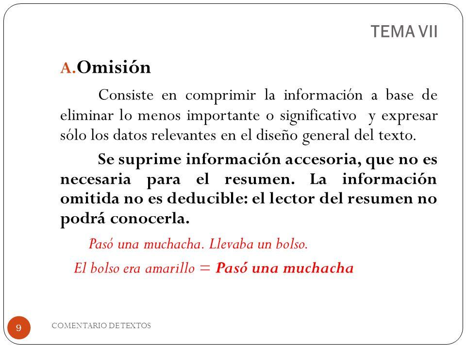 TEMA VII A. Omisión Consiste en comprimir la información a base de eliminar lo menos importante o significativo y expresar sólo los datos relevantes e