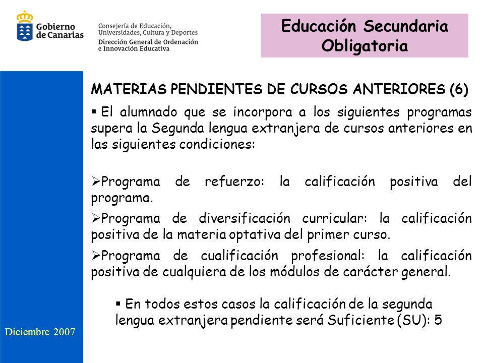 MATERIAS PENDIENTES DE CURSOS ANTERIORES (6) El alumnado que se incorpora a los siguientes programas supera la Segunda lengua extranjera de cursos anteriores en las siguientes condiciones: Programa de refuerzo: la calificación positiva del programa.