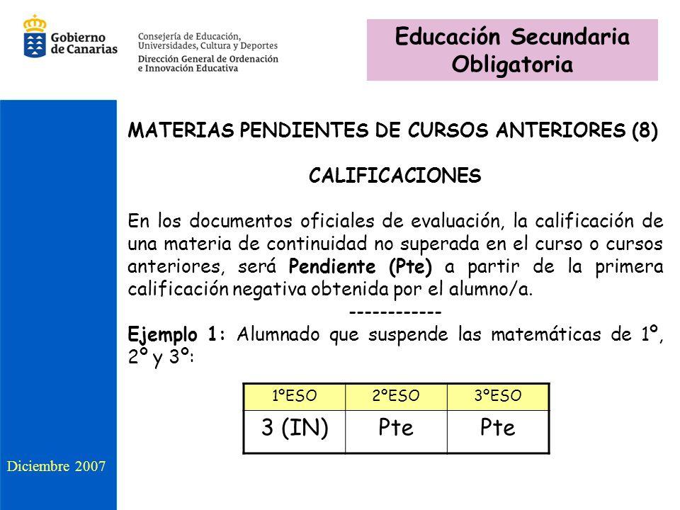 MATERIAS PENDIENTES DE CURSOS ANTERIORES (8) CALIFICACIONES En los documentos oficiales de evaluación, la calificación de una materia de continuidad no superada en el curso o cursos anteriores, será Pendiente (Pte) a partir de la primera calificación negativa obtenida por el alumno/a.