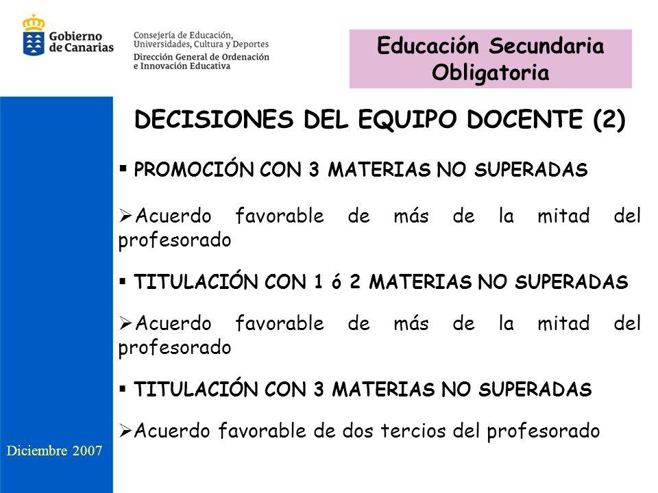DECISIONES DEL EQUIPO DOCENTE (2) PROMOCIÓN CON 3 MATERIAS NO SUPERADAS Acuerdo favorable de más de la mitad del profesorado TITULACIÓN CON 1 ó 2 MATERIAS NO SUPERADAS Acuerdo favorable de más de la mitad del profesorado TITULACIÓN CON 3 MATERIAS NO SUPERADAS Acuerdo favorable de dos tercios del profesorado Diciembre 2007 Educación Secundaria Obligatoria