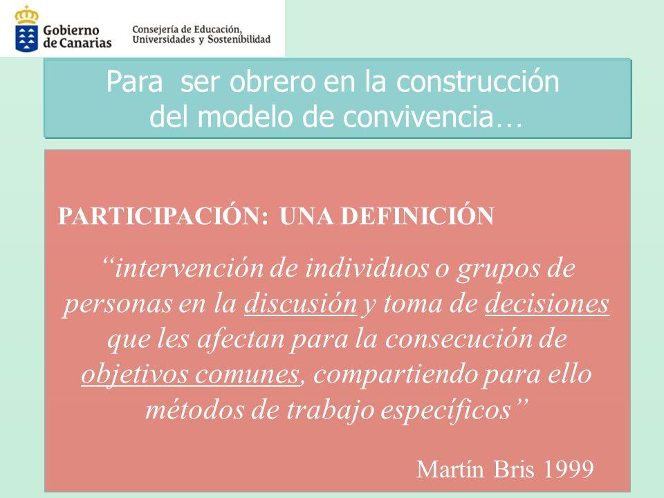 PARTICIPACIÓN: UNA DEFINICIÓN intervención de individuos o grupos de personas en la discusión y toma de decisiones que les afectan para la consecución