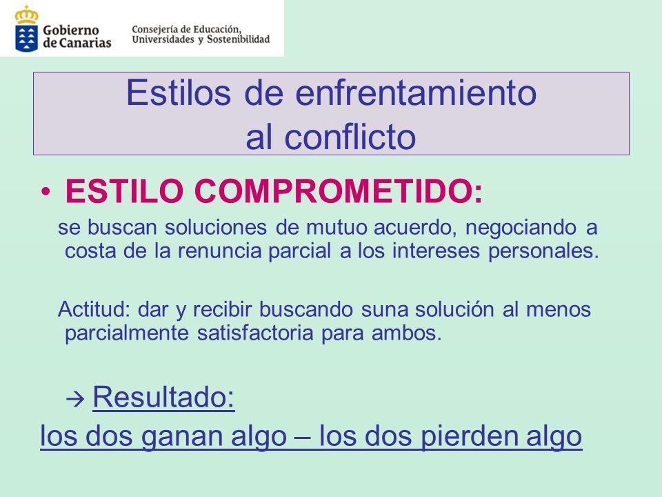 Estilos de enfrentamiento al conflicto ESTILO COMPROMETIDO: se buscan soluciones de mutuo acuerdo, negociando a costa de la renuncia parcial a los int