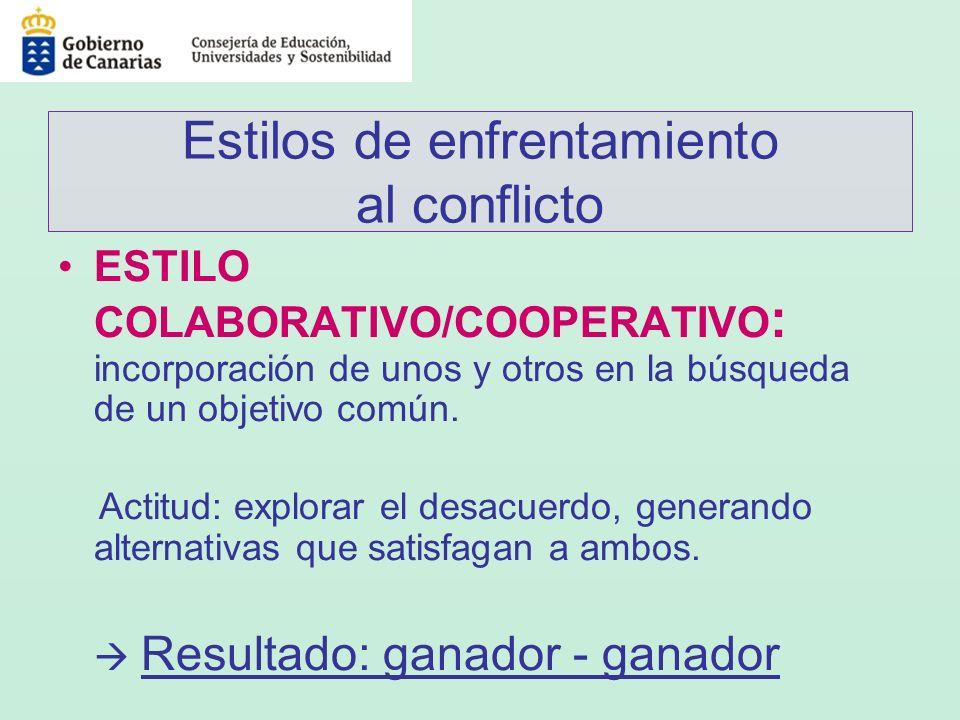 Estilos de enfrentamiento al conflicto ESTILO COLABORATIVO/COOPERATIVO : incorporación de unos y otros en la búsqueda de un objetivo común. Actitud: e