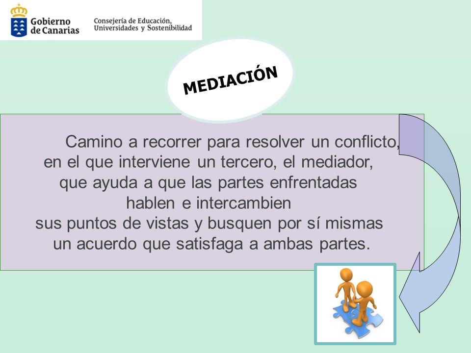 Camino a recorrer para resolver un conflicto, en el que interviene un tercero, el mediador, que ayuda a que las partes enfrentadas hablen e intercambi