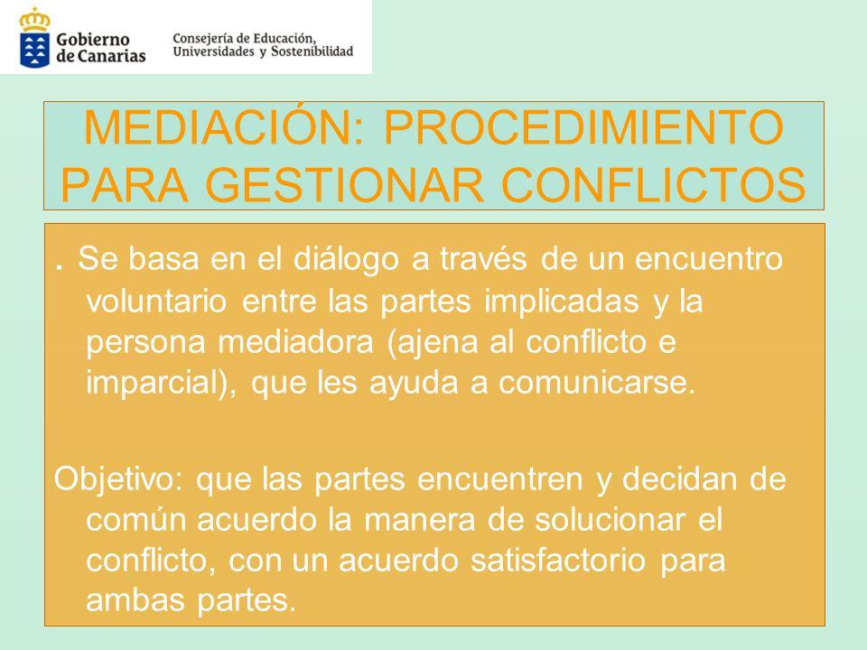 MEDIACIÓN: PROCEDIMIENTO PARA GESTIONAR CONFLICTOS. Se basa en el diálogo a través de un encuentro voluntario entre las partes implicadas y la persona