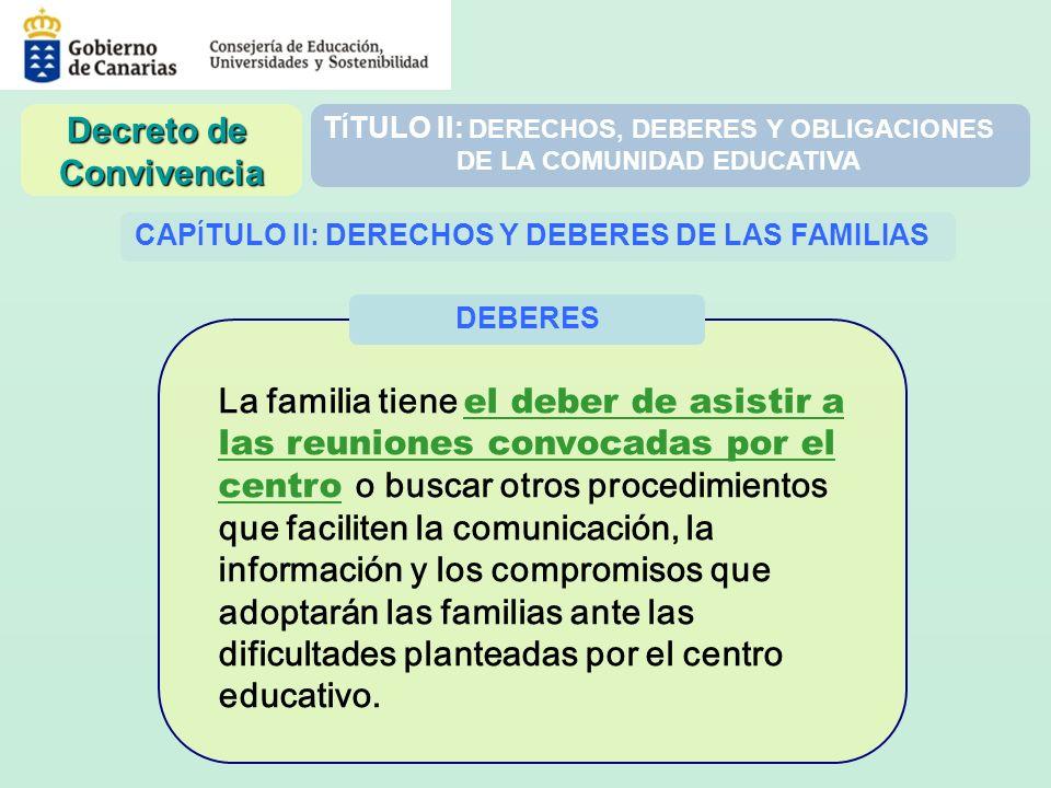 T Í TULO II: DERECHOS, DEBERES Y OBLIGACIONES DE LA COMUNIDAD EDUCATIVA CAP Í TULO II: DERECHOS Y DEBERES DE LAS FAMILIAS La familia tiene el deber de
