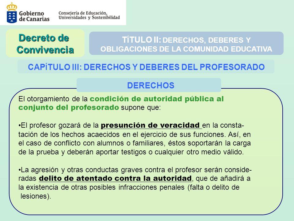 T Í TULO II: DERECHOS, DEBERES Y OBLIGACIONES DE LA COMUNIDAD EDUCATIVA CAP Í TULO III: DERECHOS Y DEBERES DEL PROFESORADO El otorgamiento de la condi