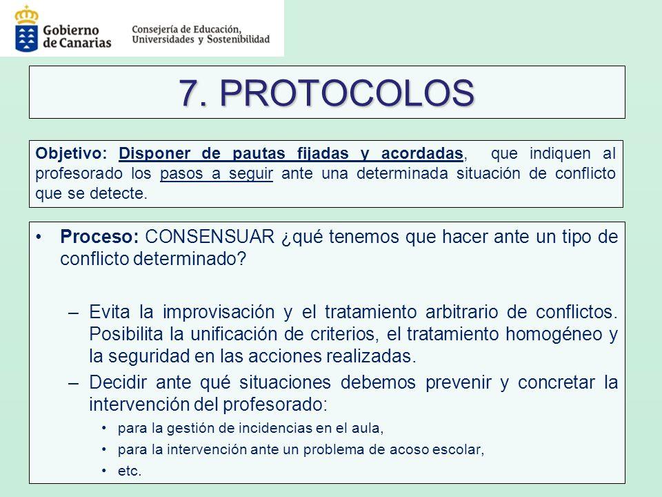 7. PROTOCOLOS Proceso: CONSENSUAR ¿qué tenemos que hacer ante un tipo de conflicto determinado? –Evita la improvisación y el tratamiento arbitrario de