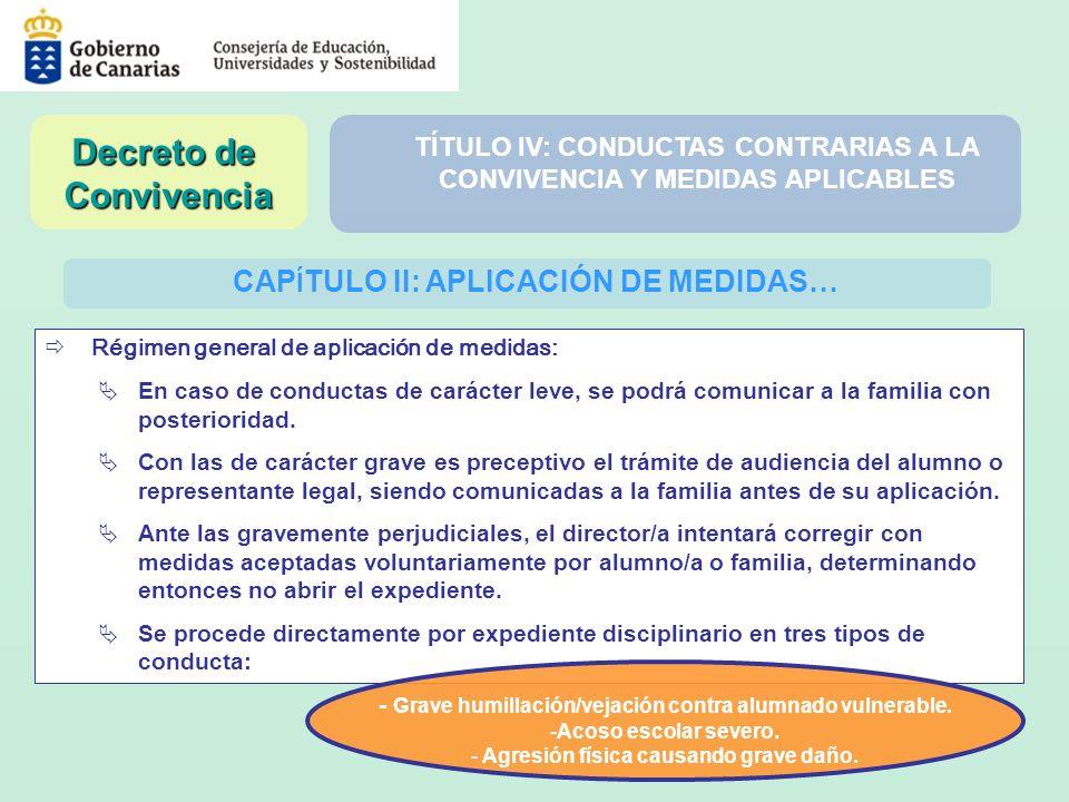 CAP Í TULO II: APLICACIÓN DE MEDIDAS… Régimen general de aplicación de medidas: En caso de conductas de carácter leve, se podrá comunicar a la familia