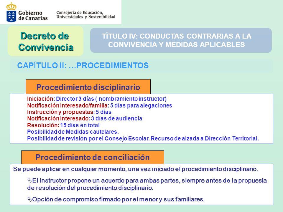 CAP Í TULO II: …PROCEDIMIENTOS Se puede aplicar en cualquier momento, una vez iniciado el procedimiento disciplinario. El instructor propone un acuerd