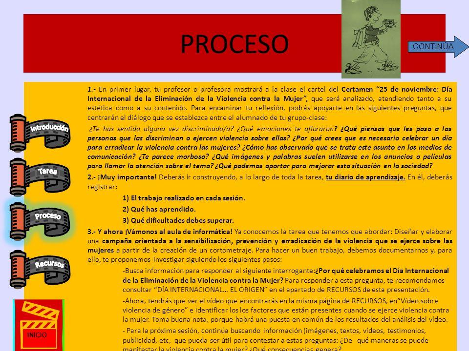 PROCESO 1.- En primer lugar, tu profesor o profesora mostrará a la clase el cartel del Certamen 25 de noviembre: Día Internacional de la Eliminación d