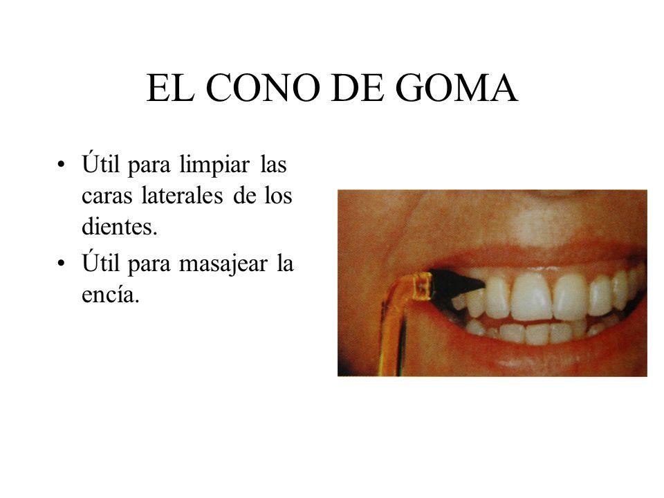 EL CONO DE GOMA Útil para limpiar las caras laterales de los dientes. Útil para masajear la encía.