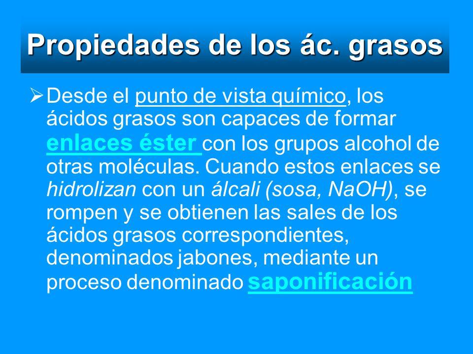 Propiedades de los ác. grasos Desde el punto de vista químico, los ácidos grasos son capaces de formar enlaces éster con los grupos alcohol de otras m