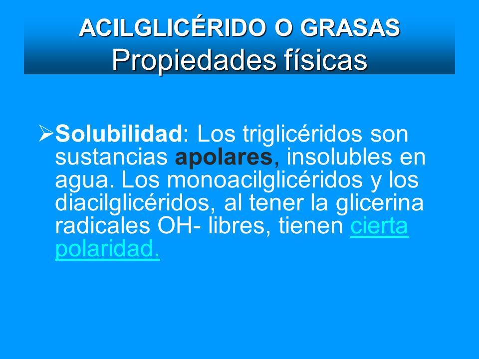 ACILGLICÉRIDO O GRASAS Propiedades físicas Solubilidad: Los triglicéridos son sustancias apolares, insolubles en agua. Los monoacilglicéridos y los di