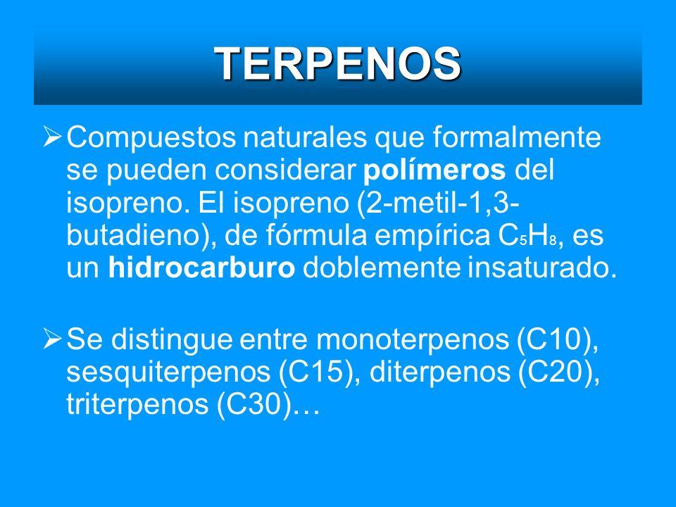 TERPENOS Compuestos naturales que formalmente se pueden considerar polímeros del isopreno. El isopreno (2-metil-1,3- butadieno), de fórmula empírica C
