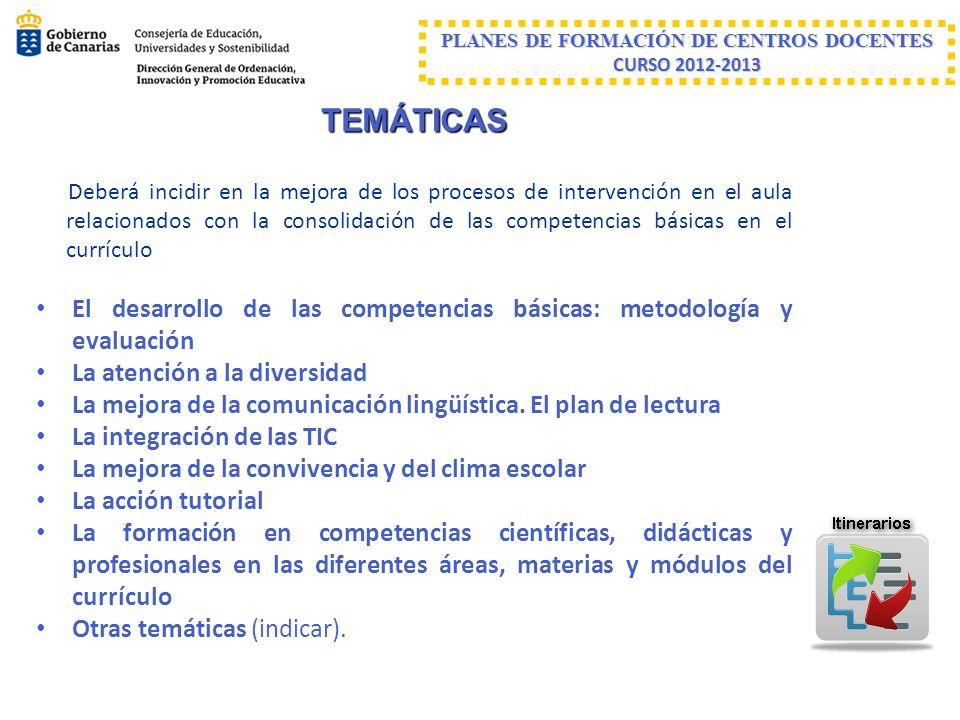 PLANES DE FORMACIÓN DE CENTROS DOCENTES CURSO 2012-2013 TEMÁTICAS Deberá incidir en la mejora de los procesos de intervención en el aula relacionados