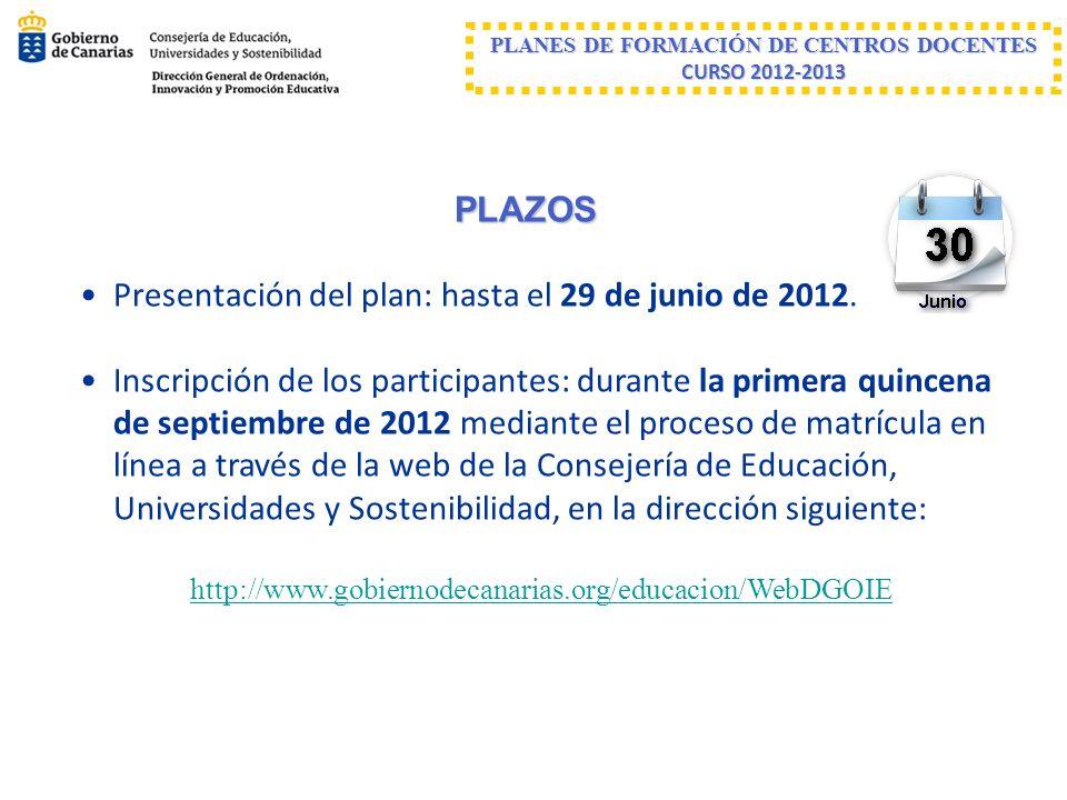 PLANES DE FORMACIÓN DE CENTROS DOCENTES CURSO 2012-2013 PLAZOS Presentación del plan: hasta el 29 de junio de 2012. Inscripción de los participantes: