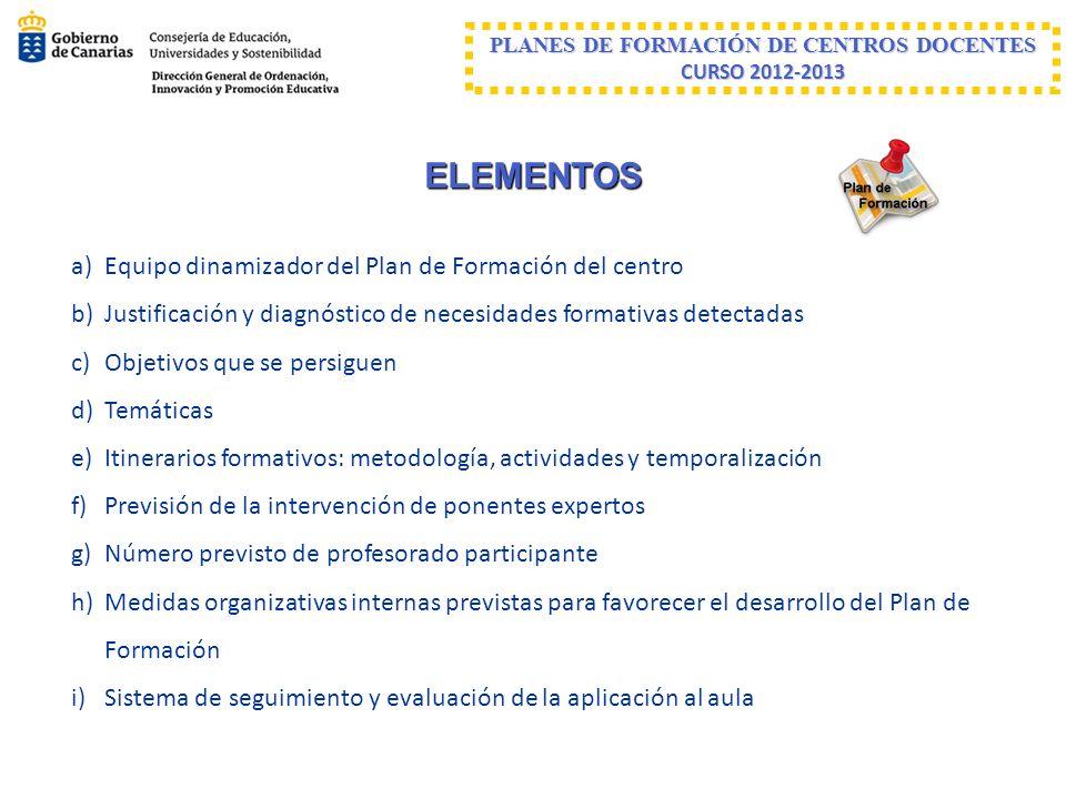 ELEMENTOS a)Equipo dinamizador del Plan de Formación del centro b)Justificación y diagnóstico de necesidades formativas detectadas c)Objetivos que se