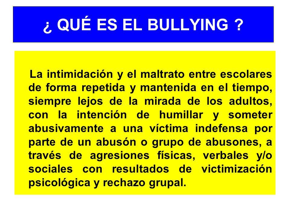 ¿ QUÉ ES EL BULLYING ? La intimidación y el maltrato entre escolares de forma repetida y mantenida en el tiempo, siempre lejos de la mirada de los adu