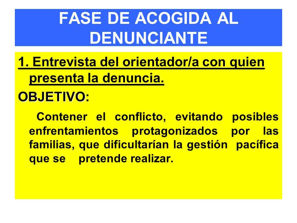 FASE DE ACOGIDA AL DENUNCIANTE 1. Entrevista del orientador/a con quien presenta la denuncia. OBJETIVO OBJETIVO: Contener el conflicto, evitando posib