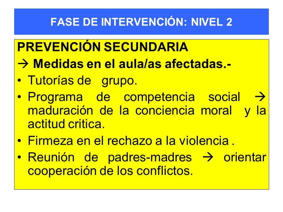 FASE DE INTERVENCIÓN: NIVEL 2 PREVENCIÓN SECUNDARIA Medidas en el aula/as afectadas.- Tutorías de grupo. Programa de competencia social maduración de