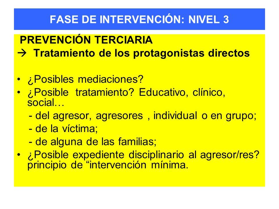FASE DE INTERVENCIÓN: NIVEL 3 PREVENCIÓN TERCIARIA Tratamiento de los protagonistas directos ¿Posibles mediaciones? ¿Posible tratamiento? Educativo, c