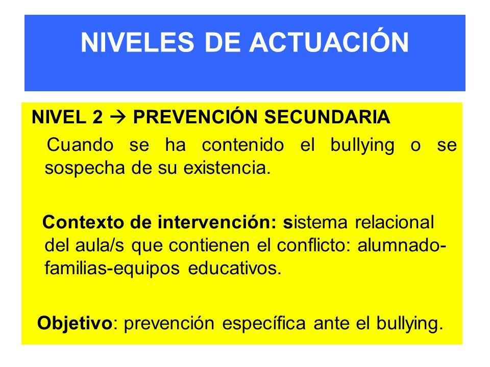 NIVELES DE ACTUACIÓN NIVEL 2 PREVENCIÓN SECUNDARIA Cuando se ha contenido el bullying o se sospecha de su existencia. Contexto de intervención: sistem
