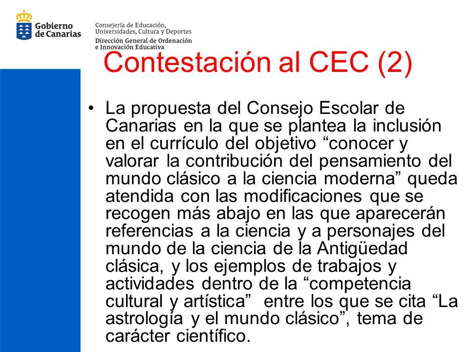 Contestación al CEC (2) La propuesta del Consejo Escolar de Canarias en la que se plantea la inclusión en el currículo del objetivo conocer y valorar