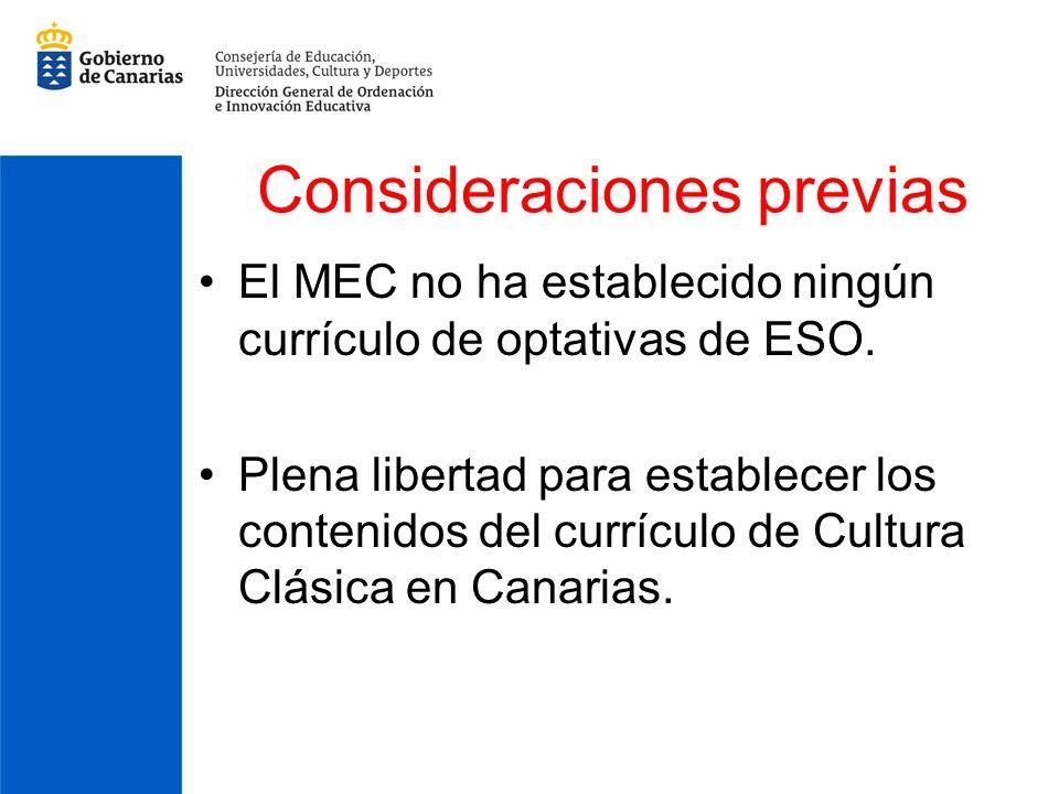 Consideraciones previas El MEC no ha establecido ningún currículo de optativas de ESO. Plena libertad para establecer los contenidos del currículo de