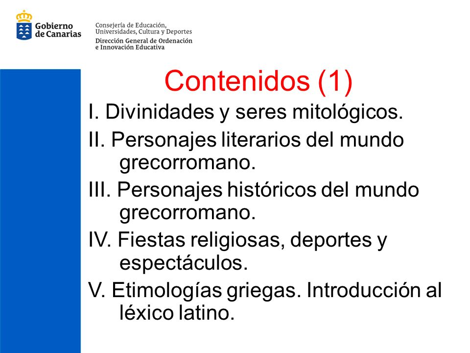 Contenidos (1) I. Divinidades y seres mitológicos.