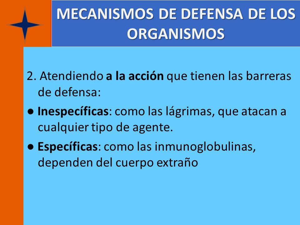 MECANISMOS DE DEFENSA DE LOS ORGANISMOS 2. Atendiendo a la acción que tienen las barreras de defensa: Inespecíficas: como las lágrimas, que atacan a c