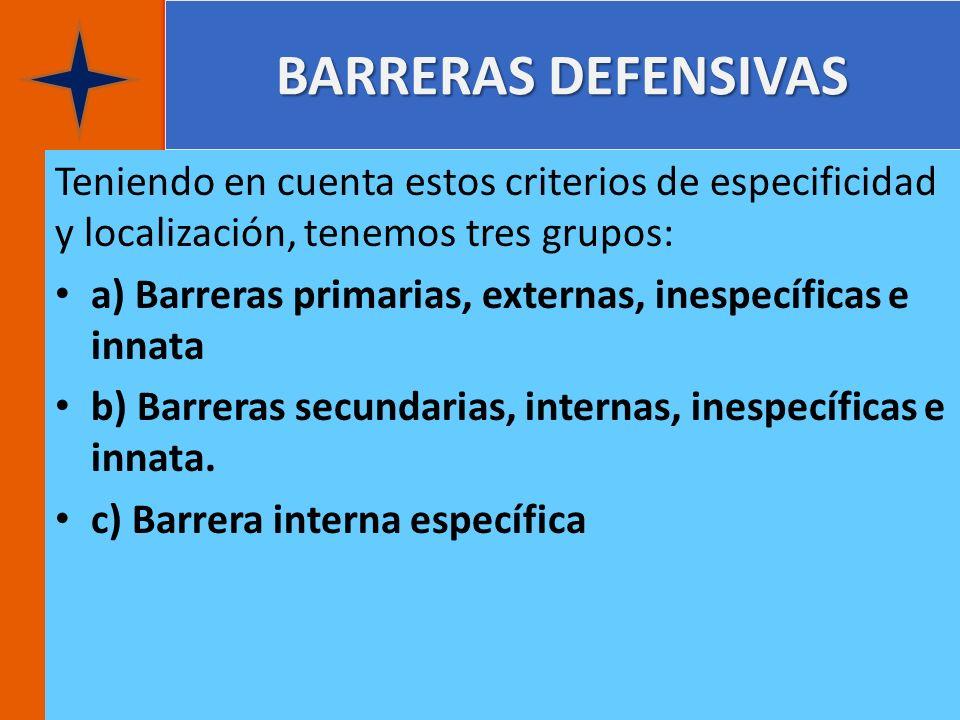 BARRERAS DEFENSIVAS Teniendo en cuenta estos criterios de especificidad y localización, tenemos tres grupos: a) Barreras primarias, externas, inespecí