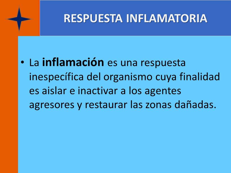 RESPUESTA INFLAMATORIA La inflamación es una respuesta inespecífica del organismo cuya finalidad es aislar e inactivar a los agentes agresores y resta
