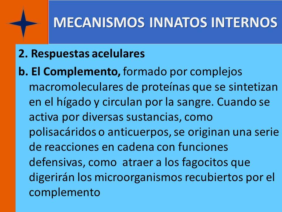 MECANISMOS INNATOS INTERNOS 2. Respuestas acelulares b. El Complemento, formado por complejos macromoleculares de proteínas que se sintetizan en el hí